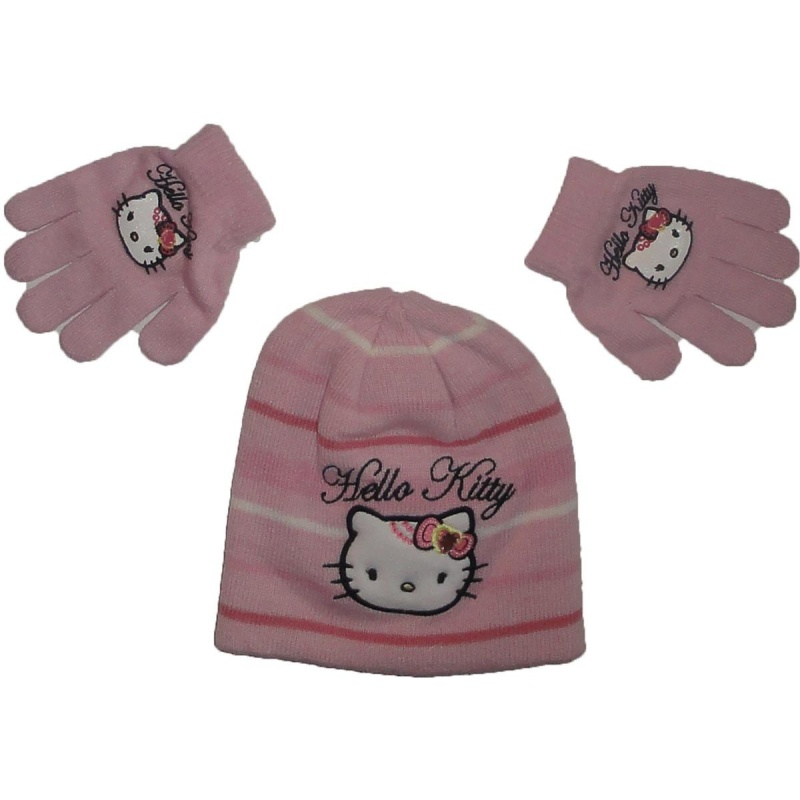 Hello Kitty Winterset Handschuhe-Mütze in Pink 52