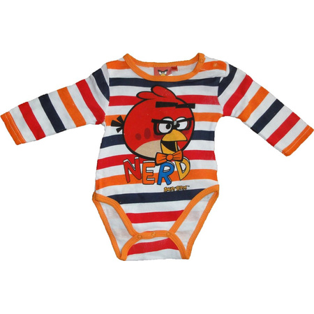 Angry Birds Baby Body langärmelig Orange gestreift 3 Monate
